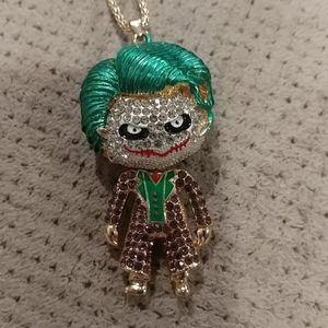 New crystal bling joker necklace